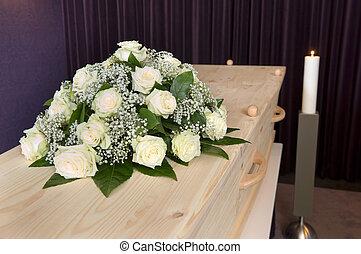 flor, caixão, arranjo