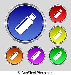 Usb sign icon flash drive stick symbol Set colourful buttons...