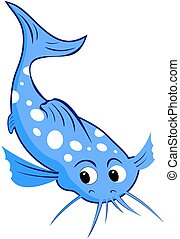 catfish cartoon - blue catfish with white spots cartoon