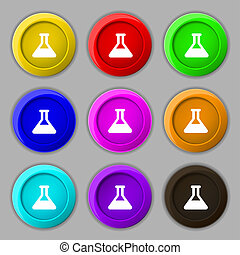 Conical Flask icon sign symbol on nine round colourful...