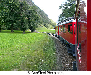 Bernina train attavera alps to Switzerland in St Moritz