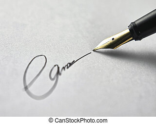 signing - close of pen sign on the plain background