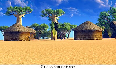 African village with traditional huts surrounded by baobab...
