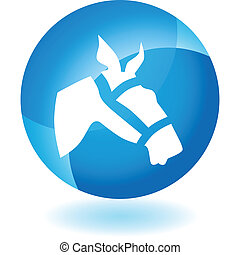 Racing Horse Icon - Racing horse icon isolated on a white...