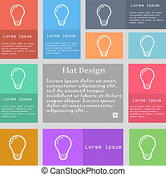Light bulb icon sign Set of multicolored buttons with space...
