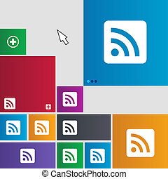 RSS feed icon sign. Metro style buttons. Modern interface website buttons with cursor pointer.