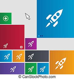 cohete, icono, signo., MÈtro, estilo, buttons.,...