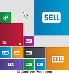 Sell, Contributor earnings icon sign. Metro style buttons....
