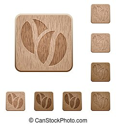 Coffee beans wooden buttons - Set of carved wooden coffee...