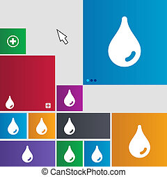Water drop icon sign. buttons. Modern interface website buttons with cursor pointer.