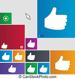 Like, Thumb up icon sign. buttons. Modern interface website buttons with cursor pointer.