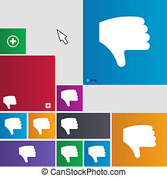 Dislike, Thumb down, Hand finger down icon sign buttons...