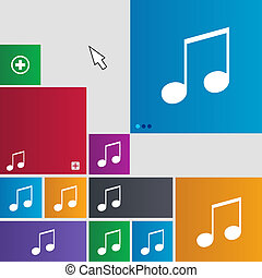 musical note, music, ringtone icon sign. buttons. Modern...
