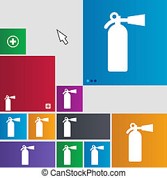 fire extinguisher icon sign buttons Modern interface website...
