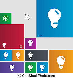 light bulb, idea icon sign buttons Modern interface website...