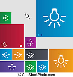light bulb icon sign buttons Modern interface website...