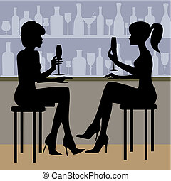 Couples with champagne glasses - Two young couples with...