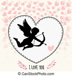 Happy valentine's day gritting card. Cupidon is aiming in...