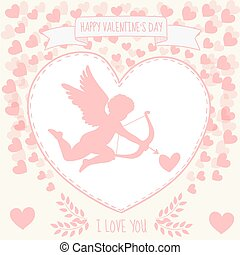Happy valentine's day gritting card. Cute kupidon is aiming...