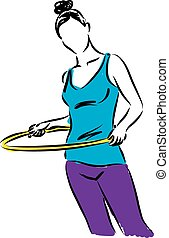 Hula-Hoop girl illustration