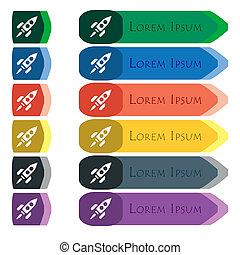 cohete, icono, signo., Conjunto, de, colorido, brillante,...