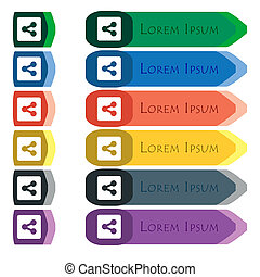 Share icon sign Set of colorful, bright long buttons with...