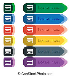 credit card icon sign. Set of colorful, bright long buttons with additional small modules. Flat design