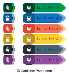 train icon sign Set of colorful, bright long buttons with...