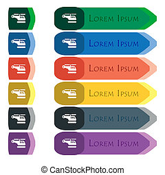 helicopter icon sign Set of colorful, bright long buttons...
