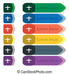 aircraft icon sign Set of colorful, bright long buttons with...