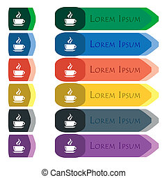 tea, coffee icon sign Set of colorful, bright long buttons...
