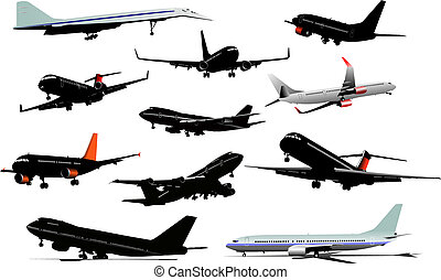 Eleven  colored  Airplane silhouettes. Vector illustration