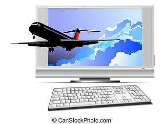 Abstract Display with plane image. Vector illustration