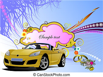 Grunge floral greeting wedding card with cabriolet image....