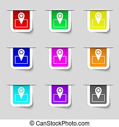 mapa, indicador, icono, signo., Conjunto, de, multicolor,...