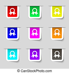Award, Prize for winner icon sign Set of multicolored modern...