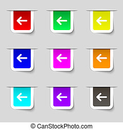 Arrow left, Way out icon sign. Set of multicolored modern labels for your design.