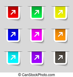 Arrow Expand Full screen Scale icon sign Set of multicolored...