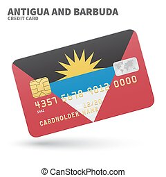 Credit card with Antigua and Barbuda flag background for...