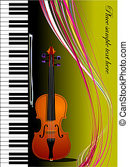 Piano with violin Vector colored illustration Cover for book...