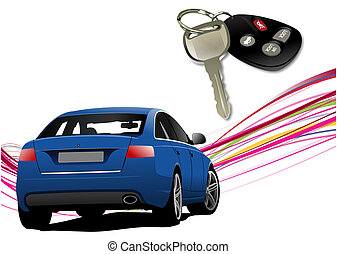 Car sedan on the road and key ignition Vector illustration