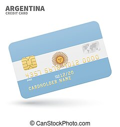 Credit card with Argentina flag background for bank,...