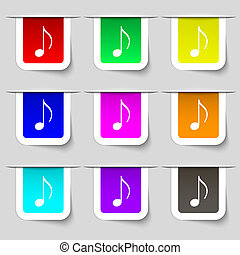 musical note, music, ringtone icon sign. Set of multicolored...
