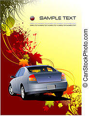 Autumnal leaf background with car image, vector illustration