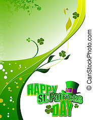 Vector of green hats and shamrocks for St Patricks Day