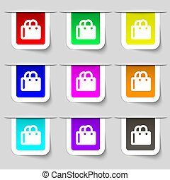 shopping bag icon sign. Set of multicolored modern labels for your design.