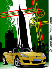 Cover for brochure with New York and yellow cabriolet images