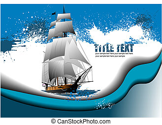 Grunge abstract background with sail ship image. Vector illustration