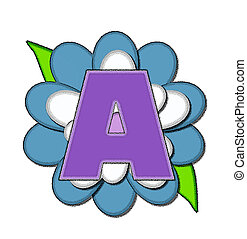 Alphabet Flower Pin Blue A