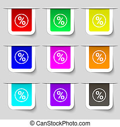 percentage discount icon sign. Set of multicolored modern labels for your design.